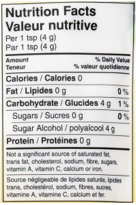 an image showing sugarlike sweetener made with monk fruit and erythritol nutrition facts