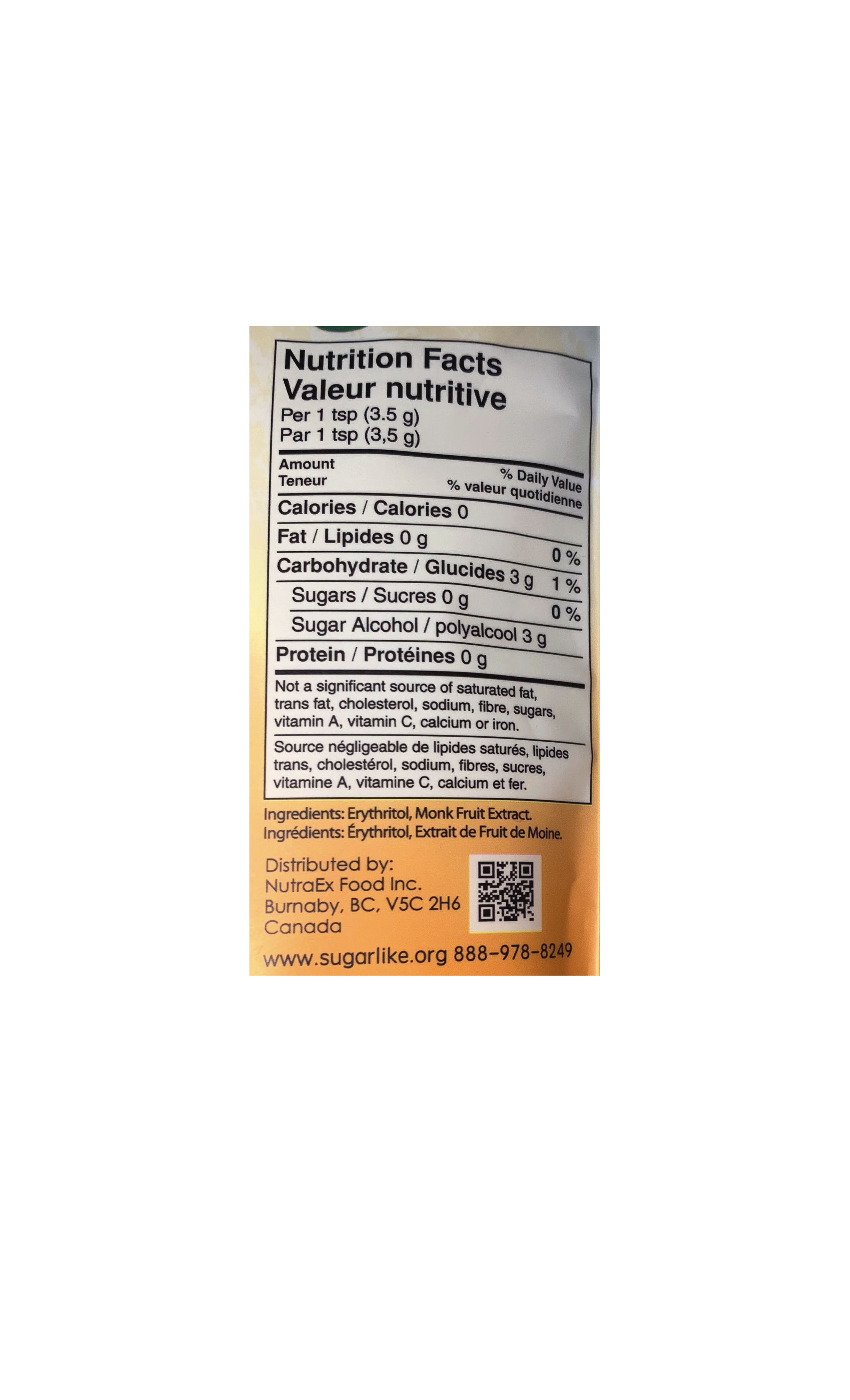 SugarLike nutrition facts table